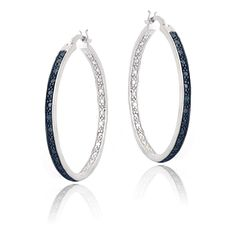 Blue Diamond Accent 30mm Round Hoop Earrings in Brass | Jewelry & Watches, Fine Jewelry, Fine Earrings | eBay!