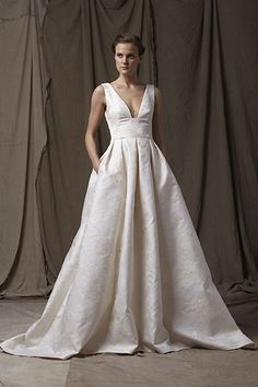 Gorgeous deep V wedding dress with pockets