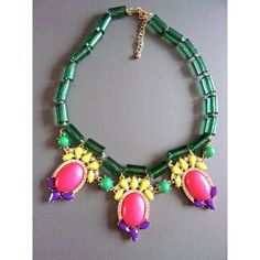 Multi Color Bib Rhinestone Necklace, Green Pink Purple, Vintage ($23) ❤ liked on Polyvore featuring jewelry, necklaces, pink rhinestone necklace, bib necklace, vintage green necklace, pink necklace and vintage rhinestone jewelry