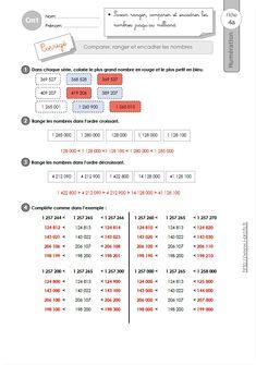 CM1: EXERCICES Comparer et ranger les grands nombres