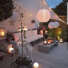 Patio Decor with a Bohemian Chic cozy lighting vibe