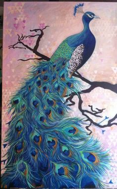 """Laura Lester, """"Peacock Dream,"""" Acrylic on canvas, 2013 Please visit my Facebook page: www.facebook.com/personalizedportraitsbylauralester"""