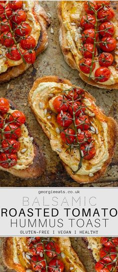 Crusty sourdough toast topped generously with silky hummus and jewels of sweet balsamic roasted tomatoes. The perfect breakfast, brunch or lunch! # Food and Drink lunch life Balsamic Roasted Tomatoes & Hummus Toast I Georgie Eats Vegan Foods, Vegan Dishes, Vegan Finger Foods, Vegan Junk Food, Vegan Lunches, Vegan Meals, Aperitivos Vegan, Think Food, Perfect Breakfast