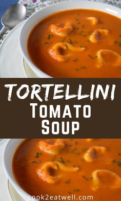 If you want a soul-satisfying meal but have no time or energy to make one, this tortellini tomato soup is the answer. In this creamy soup, fresh tomatoes combine with onions, garlic, basil and tortellini for a delicious meal that is sure to please. It's really easy to make, and comes together pretty quick. Tomato Season, Meatball Soup, Jambalaya, Tomato Soup, Tortellini, Soups And Stews, Cooking Time, Onions, Cheeseburger Chowder
