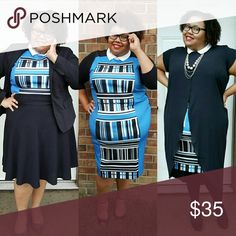 ELOQUII Blue geometric dress Worn 3 ways. This sleeveless dress is a great staple to your wardrobe! Eloquii Dresses