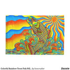 Colorful Rainbow Trout Fish Pillowcase by Rebecca Wang on Zazzle. Pillowcases made from soft microfiber polyester, and printed on both sides.  Available individually or as a set of two.  Available in standard and king sizes.