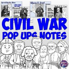 IN LOVE with this activity on Civil War leaders for US History! Interactive foldables and pop ups on all the major people of the Civil War era for US History! Engaging and fun lesson plan for middle school! Middle School History, History Class, Us History, Ancient History, History Teachers, High School, Civil War Activities, History Activities, Teaching American History