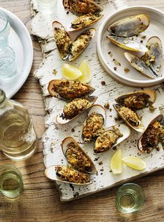 Grilled Mussels --- Prep this recipe ahead for a fantastic appetiser then flash under the grill before serving to ensure the crumbs stay crisp.