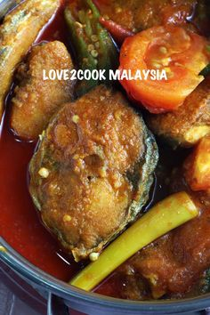 Asam Pedas Ikan Tenggiri (Mackerel in Spicy Sour Gravy) Spicy Dishes, Fish Dishes, Seafood Dishes, Seafood Recipes, Indian Food Recipes, Asian Recipes, Cooking Recipes, Malaysian Cuisine, Malaysian Food