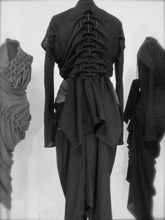 ruched skeletal dress by shoe designer Noritaka Tatehana - compare to Schiaparelli's padded skeleton dress from 1938