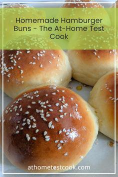 The fluffiest hamburger buns of your life! Homemade Hamburger Buns, Homemade Buns, Homemade Hamburgers, Bun Recipe, Recipe Link, Bread Bin, Recipe Generator, Loaf Recipes, Recipe Boards