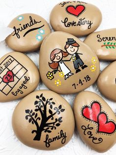 Rock Painting Ideas Discover Engagement Story Stones Wedding Story Our Love Story The Story of Us Wedding Gift Personalized Gift for Couples Engagement Gift Pebble Painting, Pebble Art, Stone Painting, Story Stones, Rock Painting Patterns, Rock Painting Designs, Stone Crafts, Rock Crafts, Diy Crafts
