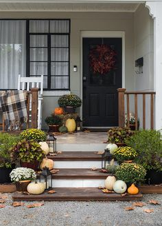 This post is part of a paid collaboration with Lowe's Home Improvement. All opinions are my own. My favorite season is upon us! Mums In Pumpkins, Faux Pumpkins, Fall Home Decor, Autumn Home, Fall Containers, Halloween Porch Decorations, Front Porch, Front Doors, Porch Decorating