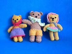 Mama Papa and Baby Teddy Bears - Vintage Retro Crocheted Goldilocks & The Three Bears - Baby Nursery Crib by FunkyKoala on Etsy