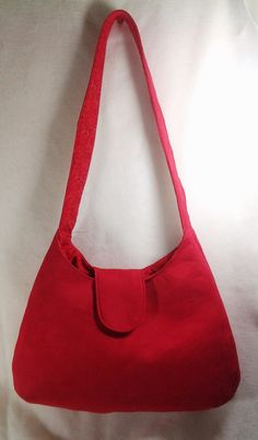 Ruby Red Microsuede Handbag Purse Shoulder Bag - pinned by pin4etsy.com