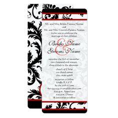 Red Black White 9x4 Damask Unique Wedding Invite