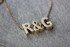 Two Initials with Ampersand Gold necklace - Gold Filled - Choose Your Length and Letters - Personalized Necklace Silver Bead Necklace, Simple Necklace, Initial Necklace, Arrow Necklace, Dainty Gold Jewelry, Gold Letters, Personalized Necklace, Matte Gold, Initials