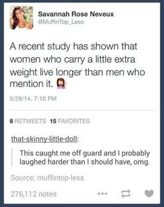 Women carry a little extra weight live longer than men who mention it.