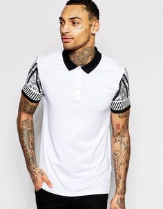 Image 1 of ASOS Muscle Jersey Polo With Paisley Sleeve Print