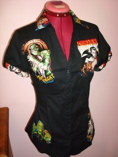 Work shirt Frankenstein rockabilly psychobilly tattoo contigo skull zombie monster goth pin up rétro cherry polka dot. $70.00, via Etsy.