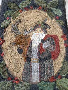 Santa and Friend pattern (#34), beautifully hooked by Diane Eaton.  Black sheep wool designs