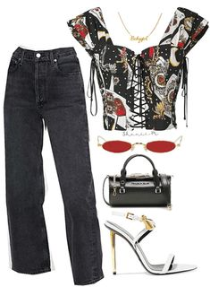 Discover outfit ideas for date night made with the shoplook outfit maker. How to wear ideas for Prada Sybille Bag and Padlock Embellished Leather Sandals Stage Outfits, Kpop Outfits, Edgy Outfits, Cute Casual Outfits, Mode Outfits, Retro Outfits, Girl Outfits, Fashion Outfits, Aesthetic Fashion
