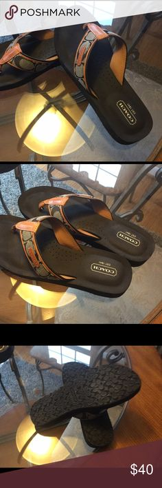 Coach flip flops Really cute black c's with brown leather trim in like new excellent shape Coach Shoes Sandals