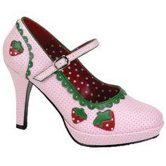 Funtasma. Een licht roze hak met groene details en een aardbeien print.  Hak 4 inch = 10,16 cm.