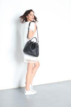 Black Pebbled Leather Bucket Bag Shoulder Leather by morelebags