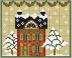 Snow Cottage cross stitch pattern