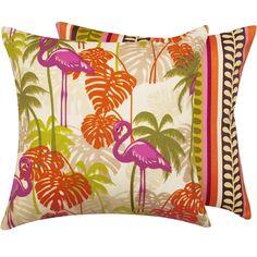"""Flamingo Lingo Collection 20"""" Outdoor Pillow"""
