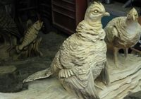 Quail chainsaw carving by Ben Risney