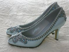 Blue Butterfly Bridal Heels Wedding Shoes - Any Size - Pick your own shoe color and crystal color. $215.00, via Etsy.
