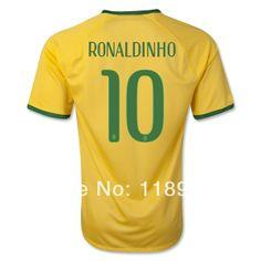 Best Quality 2014 World Cup Brazil Soccer Jerseys #10 RONALDINHO Football Soccer Jersey Men Sportswear Brasil Camisas De Futebol $22.98