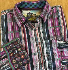 Robert Graham Men's Long Sleeved Button Down Shirt Large L Flip Cuff Geometric…