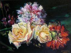 """452. """"Rosas y claveles"""" Óleo sobre lienzo  de 33 x 41"""