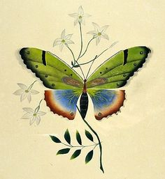 Mary or Hannah Jackson  Butterfly on Sprig of Flowers  1847