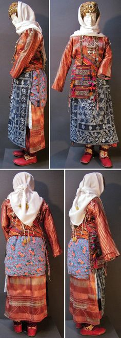 Traditional costume of a newly wed girl.  From the Adiyaman region, Kurdish Zaza ethnic group, ca. mid-20th century.  Worn for some time on a daily base (sometimes for up to six weeks), in order to facilitate the integration of the young woman into her new environment (since she left her own folks and joined the family of her husband, often in another village).  (Kavak Costume Collection - Antwerpen/Belgium).