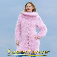 BOUTIQUE hand knitted pink mohair sweater dress by by supertanya