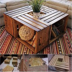 diy-coffee-table-from-recycled-wine-crates #diy #coffee table #wine crate