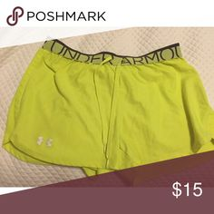 Neon Yellow Under Armour Athletic Shorts Brand new type of condition. Gently worn Under Armour Shorts