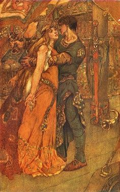 Tristram And Iseult - Noël Laura Nisbet Tristan Et Iseult, Pre Raphaelite Paintings, Fairytale Art, Wow Art, Classical Art, Book Illustration, Oeuvre D'art, Amazing Art, Illustrators