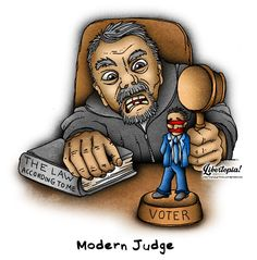 Modern Judge #libertarian #politicalcartoon #cartoons #illustration #illustration #artist #leftism #leftist #activistjudge #judge #judges #legalsystem #socialjustice #justice #liberty #leftorright