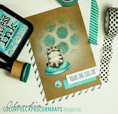 Colorful Capricorndays: Cool Cat Distress Ink only