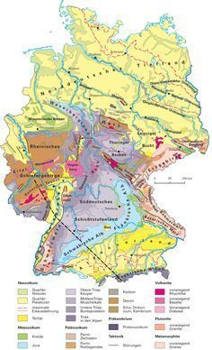 Geologische Karte von Deutschland - geological map of Germany. Physical Geography, Learn German, Old Maps, Elementary Science, Pixel, German Language, Historical Maps, Earth Science, Germany Travel