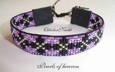 gewebtes Armband bead loom in lila schwarz silber mit Miyuki Delicas