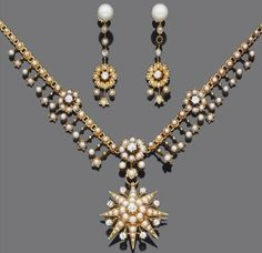 Gold, half-pearl and diamond pendant/brooch necklace and a pair of cultured pearl, half-pearl and diamond pendant earrings, late 19th century.