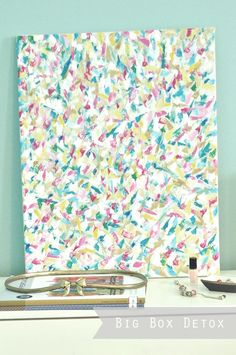"""dot""-painting with sponge brushed = super fun and great colorful diy canvas wall art! Diy Canvas Art, Diy Wall Art, Diy Wall Decor, Diy Art, Canvas Wall Art, Abstract Wall Art, Abstract Paintings, Dot Painting, Crafts To Do"
