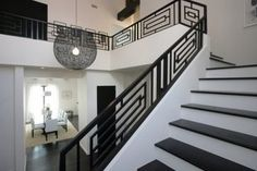 Wrought Iron Railings Designs Hungrylikekevin Com Creative Railing Design For Stairs - iron railing design for stairs Staircase Railing Design, Modern Stair Railing, Wrought Iron Stair Railing, Interior Railings, Balcony Railing Design, Iron Staircase, Home Stairs Design, Modern Stairs, Interior Stairs