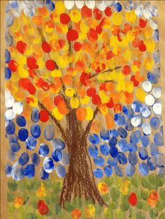 Spot painting with fingers (could be done with a cap for example). Autumn Crafts, Autumn Art, Autumn Trees, Painting For Kids, Art For Kids, Crafts For Kids, Fall Preschool, Preschool Crafts, Autumn Activities